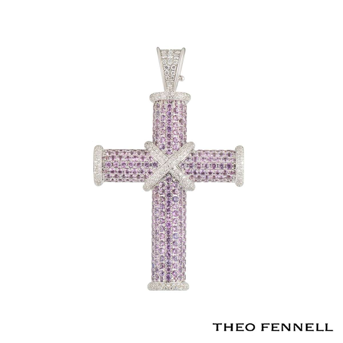 Theo Fennell White Gold Pink Sapphire and Diamond Crosses Pendant